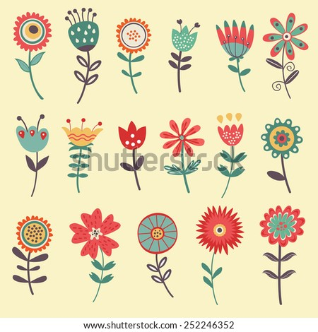 Beautiful collection of floral decorative elements. vector illustration - stock vector