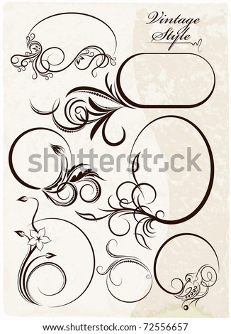 Beautiful collection of oval frames. Vector - stock vector