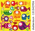 Beautiful collection of tropical fish on the yellow background - stock vector