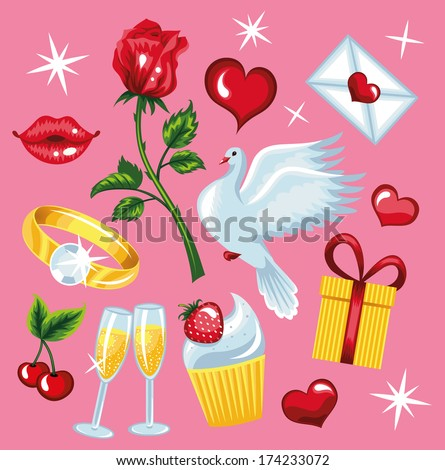 Beautiful collections for Valentine s day  - stock vector
