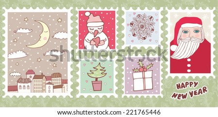 Beautiful Collections of Christmas Postmarks - stock vector
