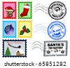 Beautiful Collections of Christmas Postmarks and Stamps - stock vector