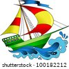 beautiful; colorful boats on the sea wave (vector illustration); - stock vector