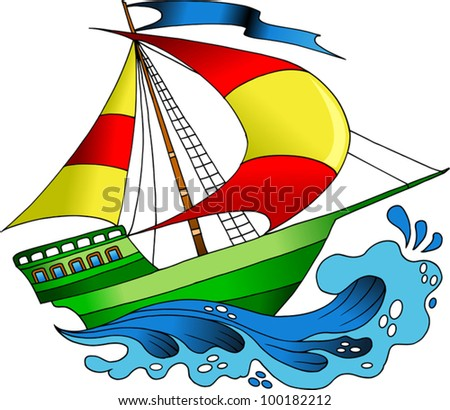 beautiful; colorful boats on the sea wave (vector illustration);