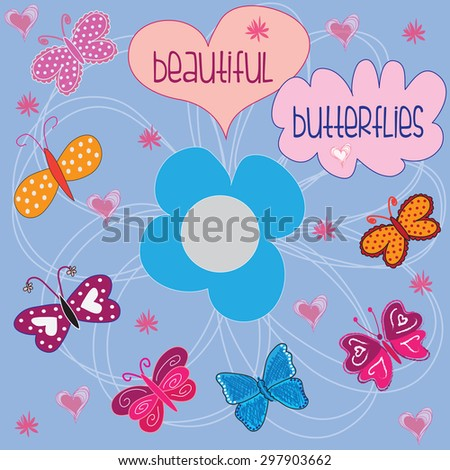 Beautiful colorful butterflies with flowers and hearts, vector illustration