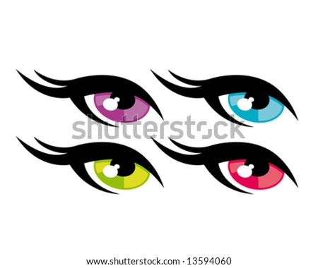 beautiful colorful eyes - stock vector