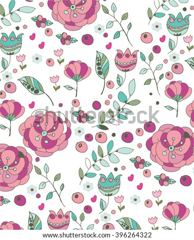 beautiful colorful spring floral background with berries flowers branches white background, printing on fabric, cover, background - stock vector