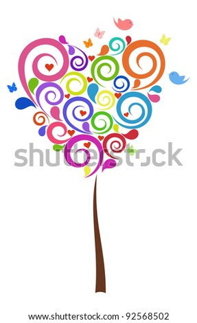 Beautiful colorful Tree in Valentin's design - stock vector