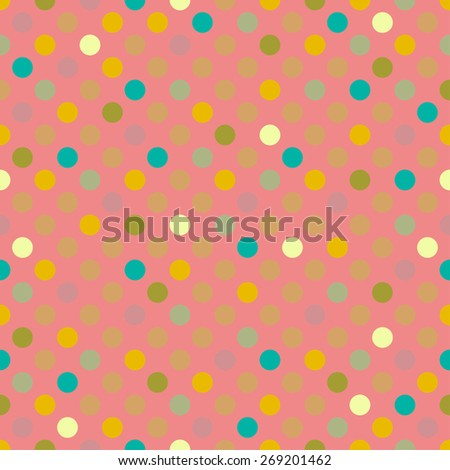 Beautiful colorful vintage geometrical vector polka dot seamless pattern background. Seamless pattern can be used for wrapping paper, postcards, textile, website background.