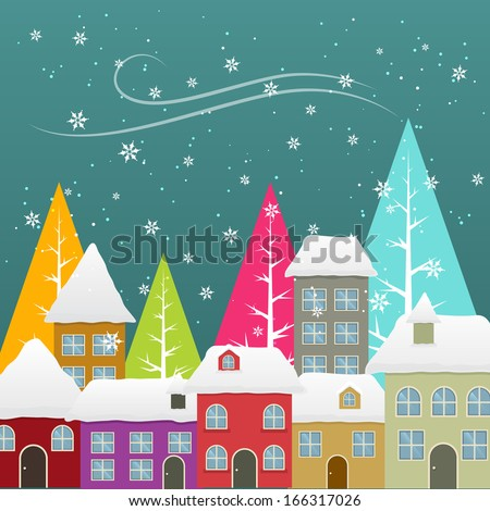 beautiful colorful winter season snowfall illustration - stock vector