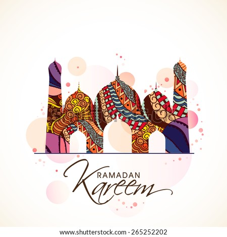 Beautiful colourful floral design on a mosque, Concept for Islamic holy month of Prayers, Ramadan Kareem celebrations.  - stock vector