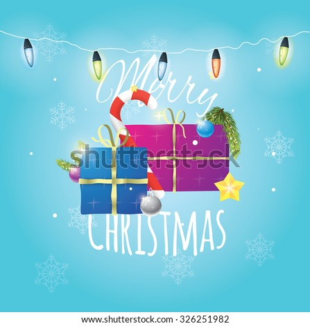 Beautiful composition of christmas items on blue snowy background with christmas lights. - stock vector