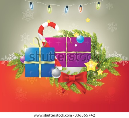 Beautiful composition of christmas items on silver and red background with christmas lights. - stock vector