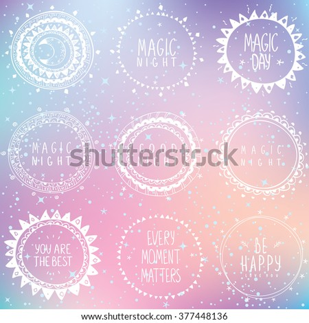 Beautiful concept set with circle ethnic simple logos with sample text on a beautiful background. Stylish vector illustration - stock vector