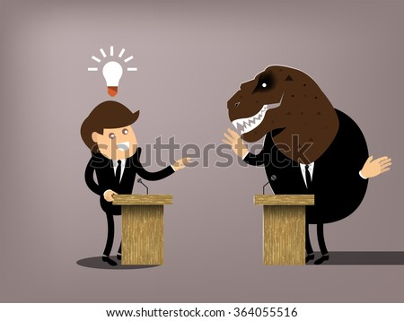 beautiful conceptual graphic design of debate,the man dress suit who got the good idea debating with dinosaur,comparison between progressive and conservative - stock vector