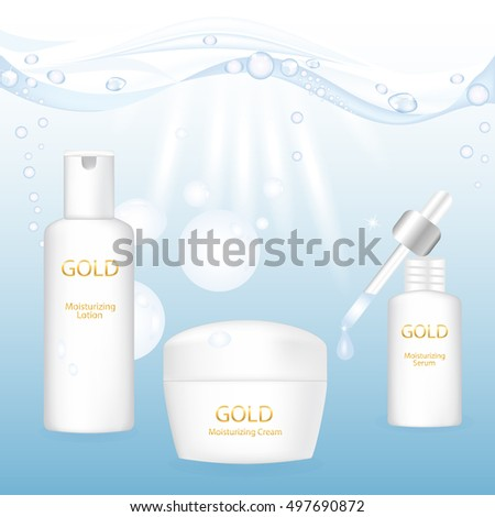 Beautiful cosmetic packaging for moisturizing cream, serum, lotion. Vector illustration.