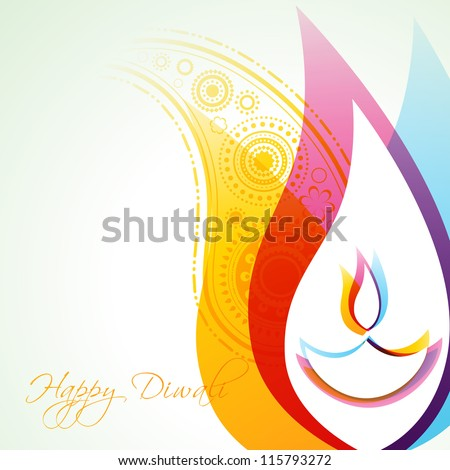 beautiful creative vector colorful happy diwali background - stock vector
