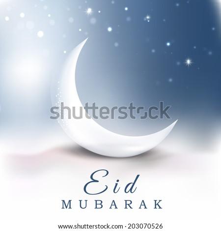 Beautiful crescent moon in the sky muslim community festival Eid Mubarak night concept.  - stock vector