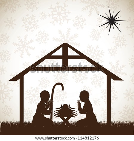 beautiful crib brown, Christmas image over white background - stock vector