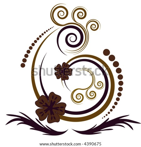 Beautiful curly abstract vector design with flowers
