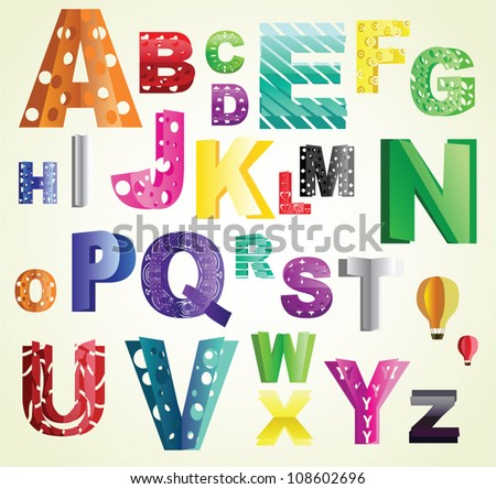 Beautiful cut out paper abc, various cuts and bright colors. Can be used as text decoration, part of logo or illuminated first letters in a book, or as an icon.