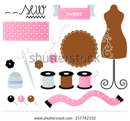 Beautiful cute sewing set. Vector cartoon Illustration