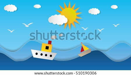 Beautiful Cute vector Steam Boat on paper cut seascape, background illustration