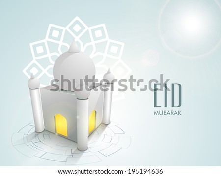 Beautiful 3D illustration of a mosque on floral decorated blue background for the festival of muslim community Eid Mubarak celebrations.  - stock vector