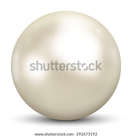 Beautiful 3D Pearl on White Background and Smooth Shadow - 3D Vector Illustration - stock vector