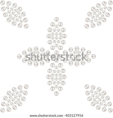 Beautiful 3D shiny natural White Pearl seamless pattern. Dotted petals and flowers. Wedding theme. Abstract Background. Vector Illustration.  - stock vector