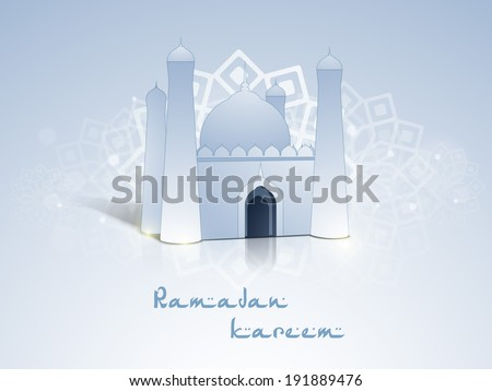 Beautiful 3D view of a mosque on floral decorated grey background with stylish text Ramadan Kareem. - stock vector