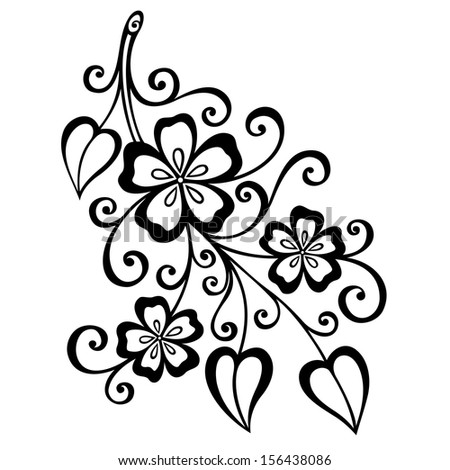 Beautiful Decorative Branch with Flowers (Vector), Patterned design - stock vector