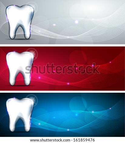 Beautiful dental design collection. Blue, red and light grey color backgrounds and white tooth. - stock vector