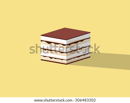 beautiful design of tiramisu cake, colorful dessert concept design - stock vector