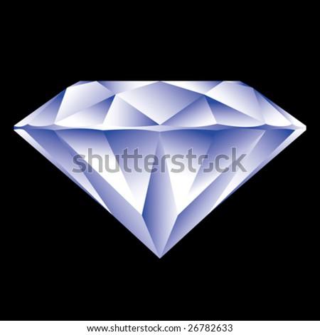 Beautiful diamond on black background - stock vector