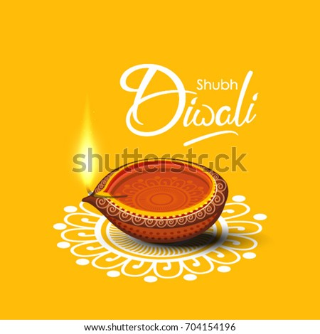 Beautiful Diwali greeting card Vector illustration of Traditional  Illuminated / burning oil lamp or Floral diya and Floral Rangoli Base for Diwali Festival  with creative text of Shubh Diwali .