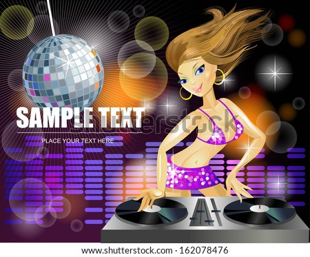 Decks dj Art Beautiful dj Girl on Decks on