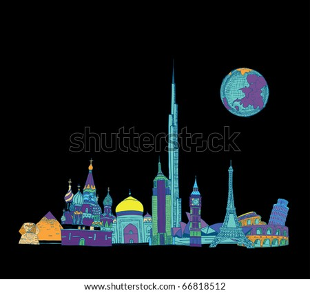 Beautiful Dreamland Sketch (vector) - stock vector