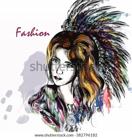 Beautiful dreamy long haired girl in bo-ho style clothes with colorful  feathers and  hand drawn dream catcher in engraved  style - stock vector