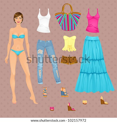 Beautiful dress up female paper doll, ready for cut out and play. vector illustration. - stock vector