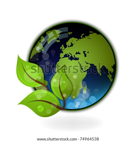 Beautiful Earth on white background.Ecology illustration - stock vector