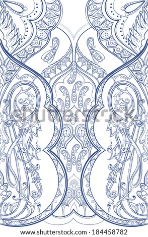Beautiful eastern paisley pattern - stock vector