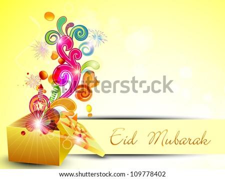Beautiful Eid Mubarak greeting card. EPS 10. - stock vector