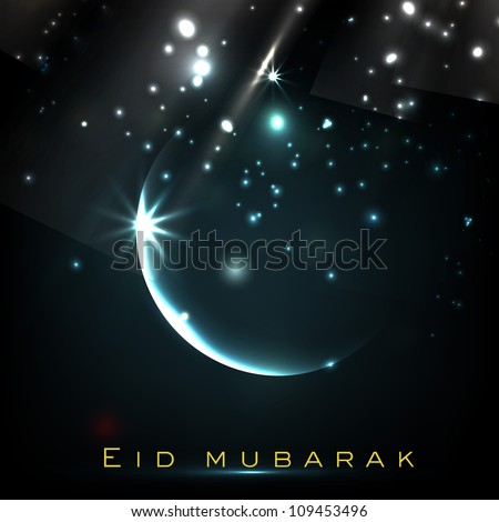 Beautiful Eid Mubarak greeting card with shiny Moon and stars. EPS 10. - stock vector