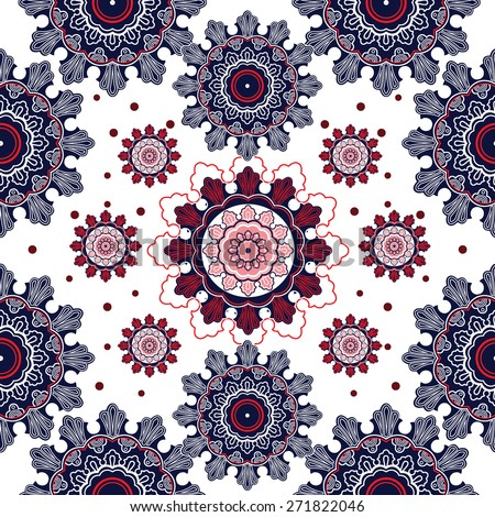 Beautiful elegant paisley artwork Elegant linear flowers on white background, watercolor, ink.Vector illustration. Seamless pattern. Textiles design, repeat elements. Red white pink and blue shades.  - stock vector