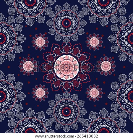 Beautiful elegant paisley artwork.Vector illustration. Seamless pattern. Textiles design, repeat elements. Red white and blue shades. - stock vector