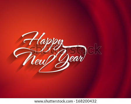 Beautiful elegant text design of happy new year on red color background. vector illustration - stock vector