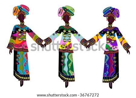 beautiful ethnic women in traditional colorful clothes on a white background