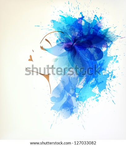 Beautiful face women with abstract blue flower and blots. - stock vector