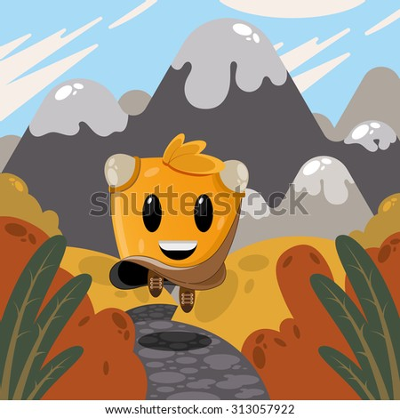 beautiful fairy tale character runs through the autumn road with beautiful scenery - stock vector